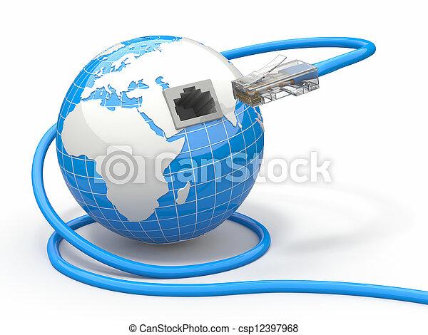 global, rj45., kabel, communication., erde - csp12397968