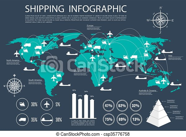 Global shipping and logistics infographics International logistics  delivery and shipping