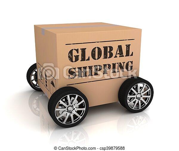 global shipping cardboard box - csp39879588