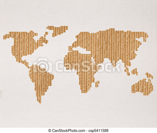 Global shipping concept with cardboard world map - csp5411588