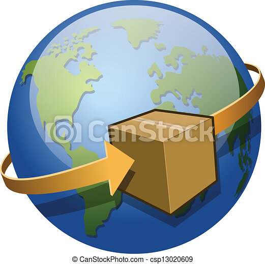 global shipping a package circling the globe saved as eps 10 with rh canstockphoto com shopping clip art images clipart shipping container