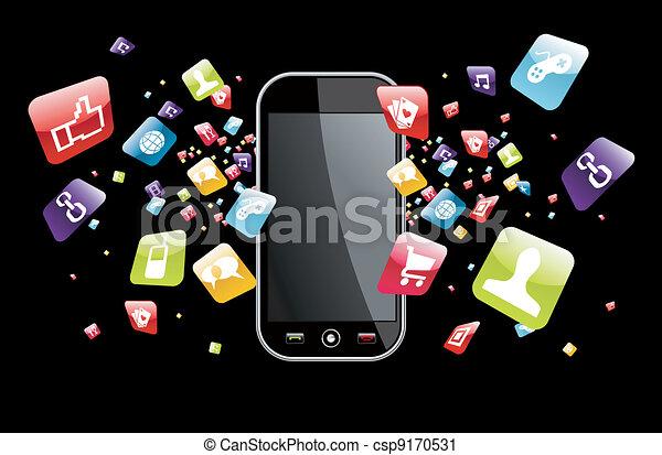 global, smartphone, éclaboussure, apps, icônes - csp9170531