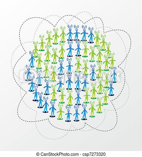 Global social media network concept - csp7273320