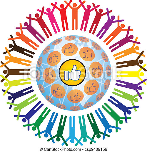 Global social teamworking concept with like symbol - csp9409156