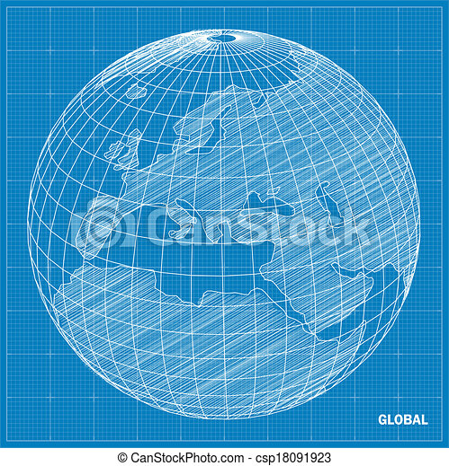 Global sphere blueprint vector illustration vector illustration global sphere blueprint vector malvernweather Image collections