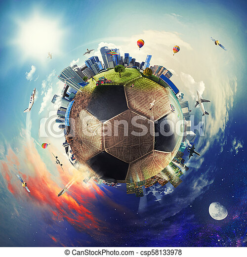 Global view of soccer world. football ball as a planet - csp58133978
