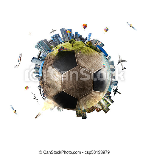 Global view of soccer world. football ball as a planet - csp58133979