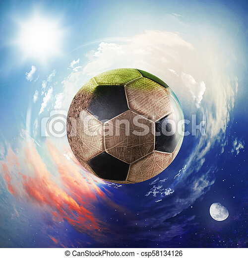 Global view of soccer world. football ball as a planet - csp58134126
