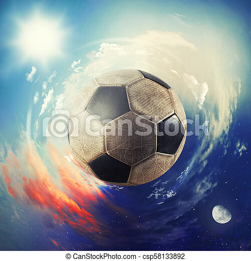 Global view of soccer world. football ball as a planet - csp58133892