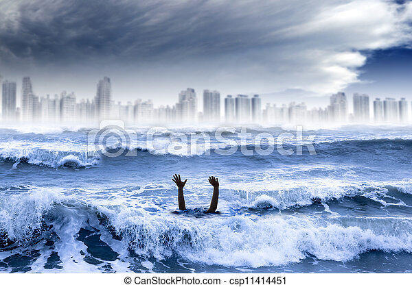 global warming and extreme weather concept. man drowning in the water and storm destroyed the city - csp11414451