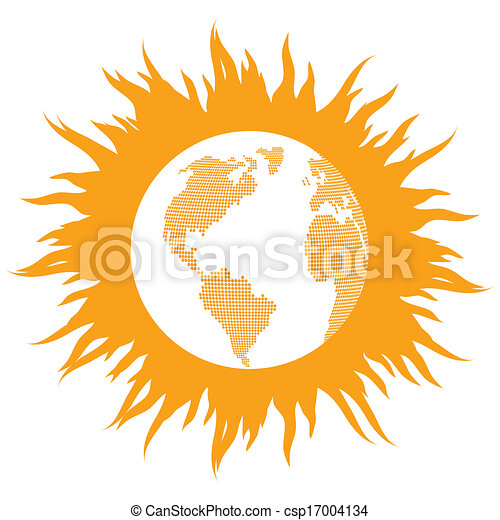 Global Warming Concept With Burning Globe Like Sun Vector Background