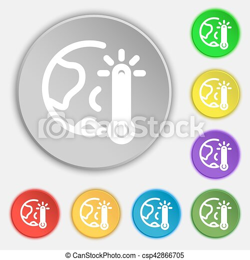 Global Warming Ecological Problems And Solutions Thermometer Icon