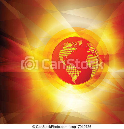 Global warming hot globe concept vector abstract background - csp17019736