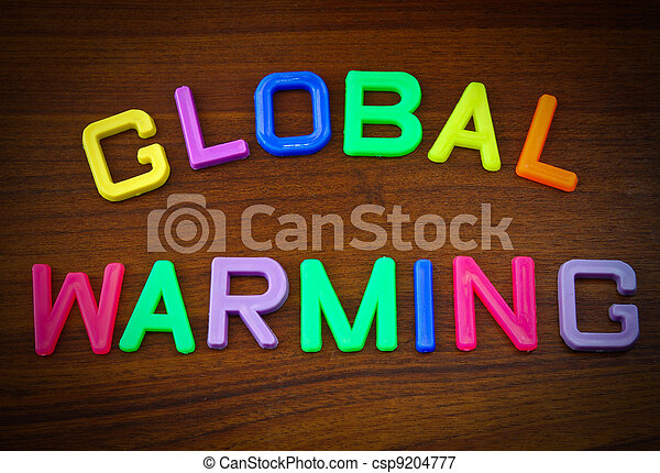 Global warming in toy letters - csp9204777