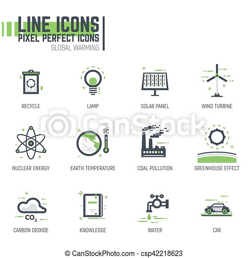 Global warming line icons - csp42218623