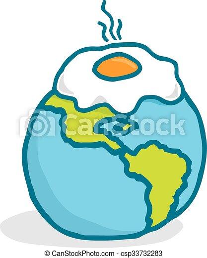 global warming or cartoon planet frying an egg cartoon vector rh canstockphoto com clipart pictures of global warming clipart global warming
