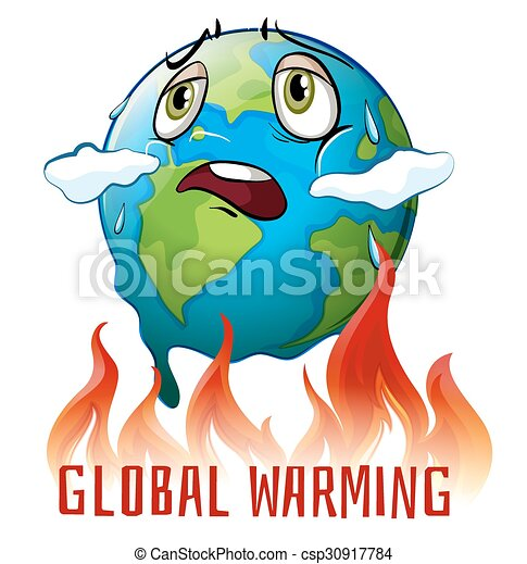 global warming poster with earth on fire illustration vector rh canstockphoto com global warming earth clipart global warming clipart images