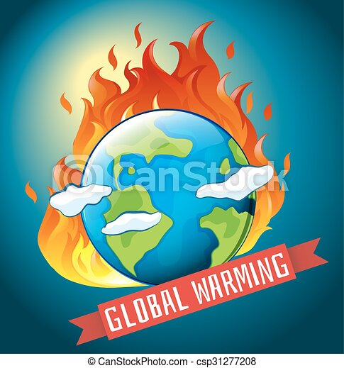 Global warming theme with earth on fire - csp31277208