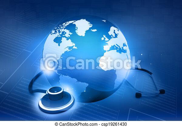 global, world., concept, stéthoscope, healthcare - csp19261430