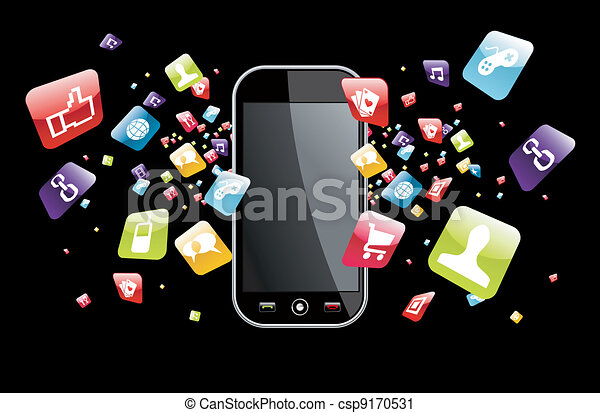 globale, smartphone, schizzo, apps, icone - csp9170531