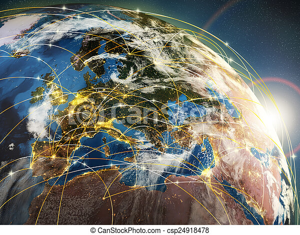Globalization or communication concept. Earth and luminous rays  - csp24918478