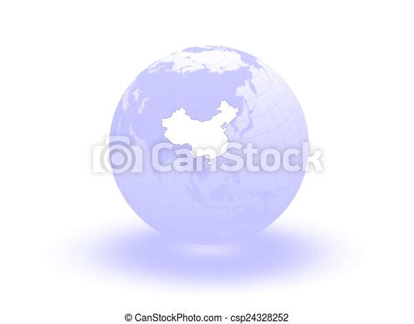 Globe. 3d. China. - csp24328252