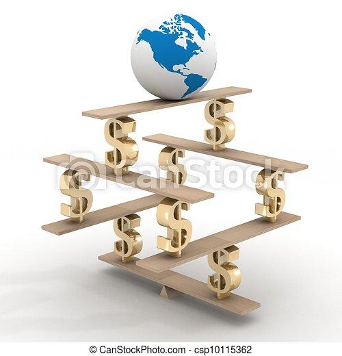 globe, 3d, financier, image., pyramid. - csp10115362