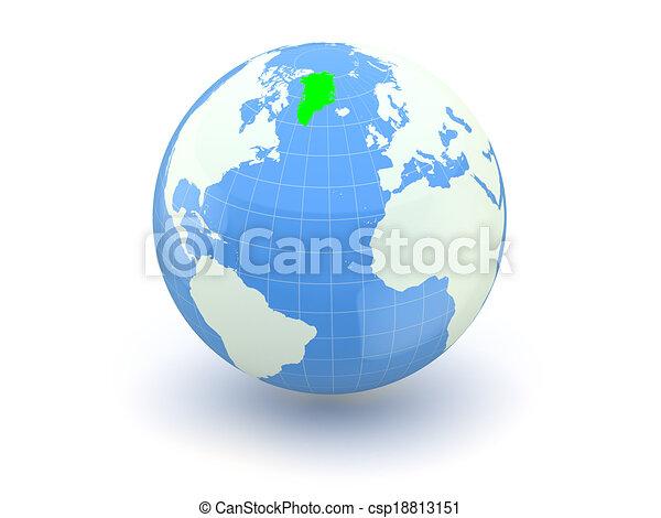 Globe. 3d. Greenland. - csp18813151