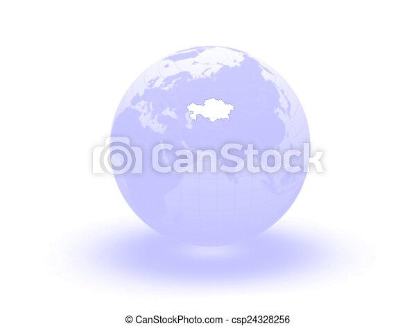 Globe. 3d. Kazakhstan. - csp24328256