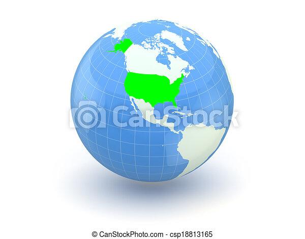 Globe. 3d. USA. - csp18813165