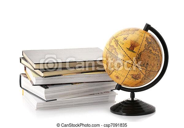 Globe and books - csp7091835