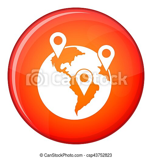 Globe and map pointers icon, flat style - csp43752823
