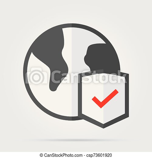 Globe and shield thin line icon. Planet with shield vector illustration isolated on white. Global protection outline style design, designed for web and app. Eps 10 - csp73601920