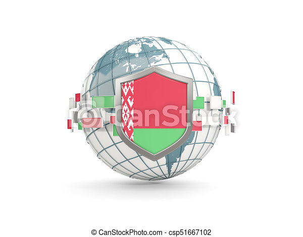 Globe and shield with flag of belarus isolated on white - csp51667102