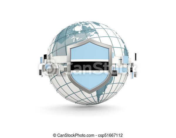 Globe and shield with flag of botswana isolated on white - csp51667112