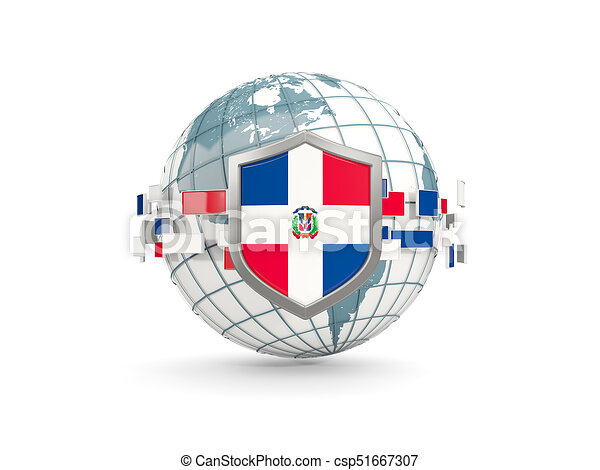 Globe and shield with flag of dominican republic isolated on white - csp51667307