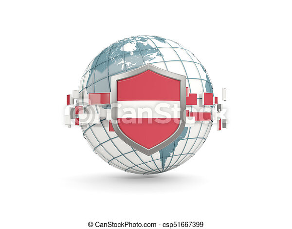 Globe and shield with flag of latvia isolated on white - csp51667399