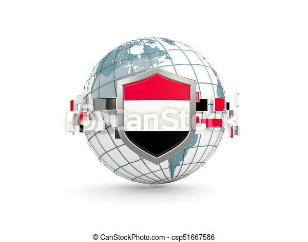 Globe and shield with flag of yemen isolated on white - csp51667586