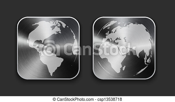 Globe and world map on brushed metal app icons vector vector globe and world map on brushed metal app icons csp13538718 gumiabroncs Image collections