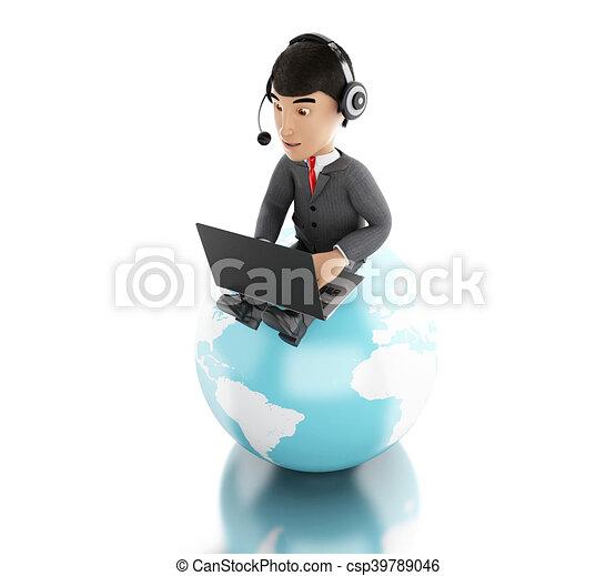 globe., arbeitende , laptop, kopfhörer, geschäftsmann, erde, 3d - csp39789046