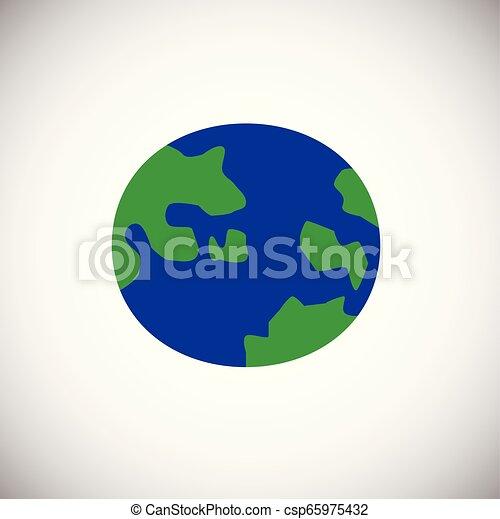 Globe color flat on white background - csp65975432