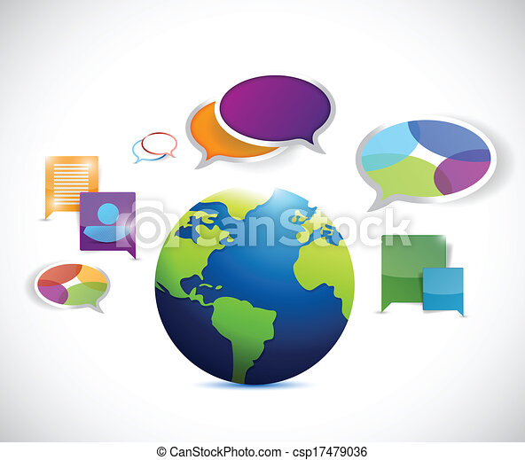 globe colorful communication illustration design - csp17479036