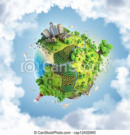 Globe Concept Of Idyllic Green World Globe Concept