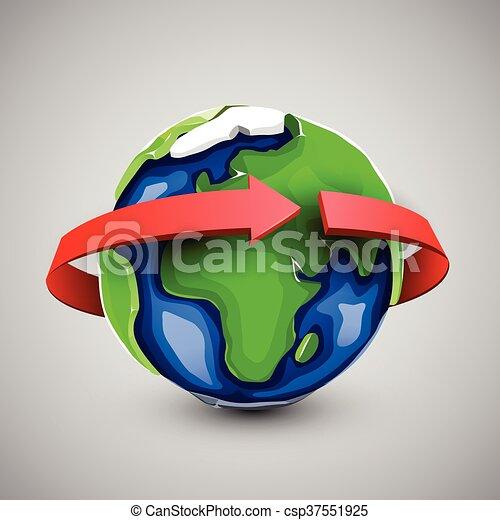 Globe design with around the world arrow. - csp37551925