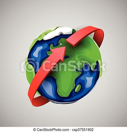 Globe design with around the world arrow. - csp37551902