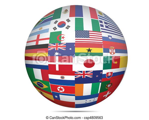 globe, drapeaux - csp4809563