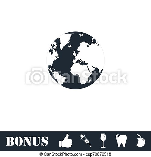 Globe Earth icon flat - csp70872518