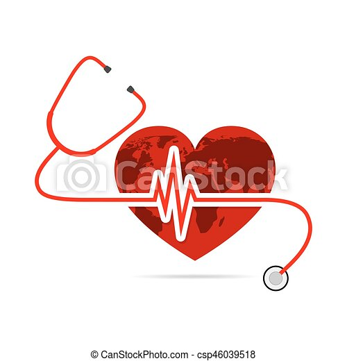 globe earth with stethoscope and heartbeat sign vector vector rh canstockphoto com heartbeat clipart png heart rate clip art free