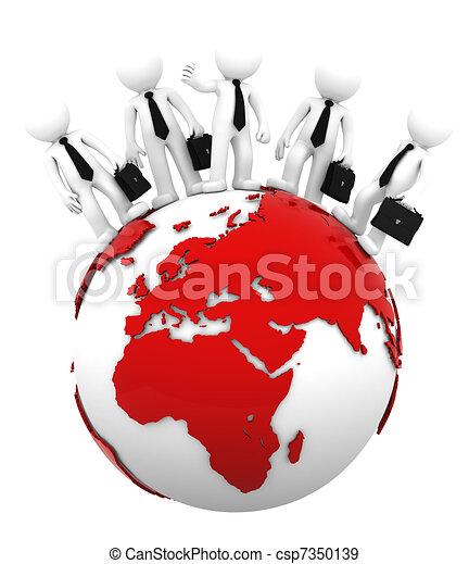 Equipo de negocios en la cima del mundo. El lado europeo y africano - csp7350139