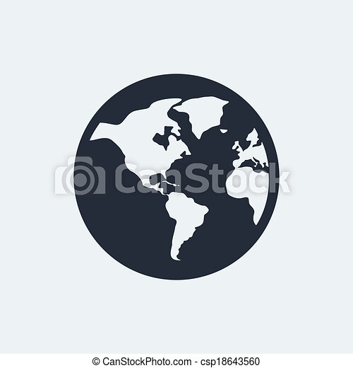Globe flat icon with shadow. vector eps 10.